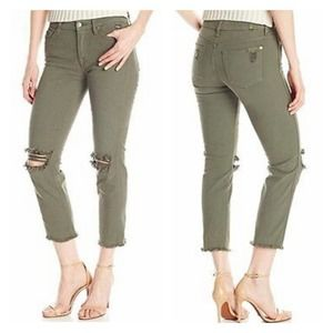 7FAM Olive Green Ankle Straight Distressed Jeans